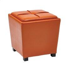 2-piece Orange Vinyl Ottoman Set