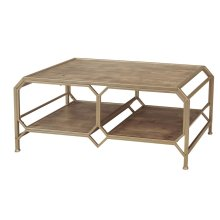 Bronze/wood 2-tier Cocktail Table, Kd