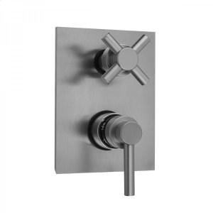 Antique Brass - Rectangle Plate with Contempo Low Lever Thermostatic Valve with Contempo Cross Built-in 2-Way Or 3-Way Diverter/Volume Controls (J-TH34-686 / J-TH34-687 / J-TH34-688 / J-TH34-689) Product Image