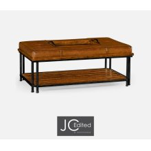 Country walnut cocktail ottoman