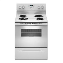 4.8 cu. ft. Capacity Electric Range with Custom Broil (This is a Stock Photo, actual unit (s) appearance may contain cosmetic blemishes. Please call store if you would like actual pictures). This unit carries our 6 month warranty, MANUFACTURER WARRANTY and REBATE NOT VALID with this item. ISI 34529