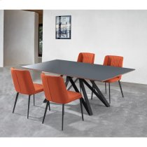 Armen Living Maine Contemporary Grey Glass 5 Piece Metal Dining Set Product Image