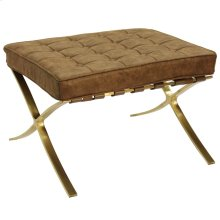 CALVIN OTTOMAN  Distressed Faux Leather- Chocolate with Brass Finish on Metal Frame