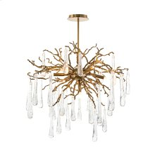 Brass and Glass Teardrop Seven-Light Chandelier