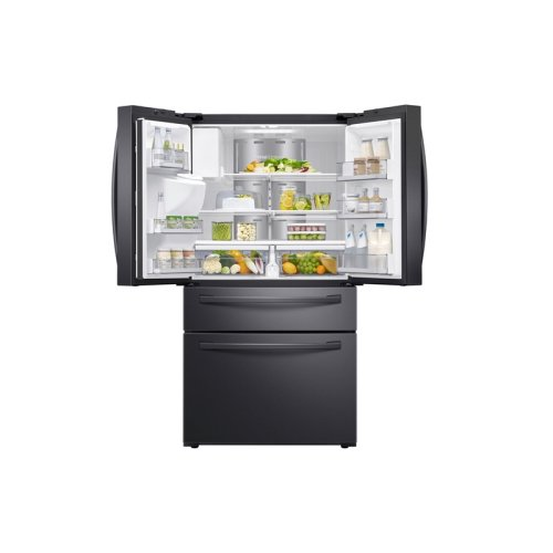 """22 cu. ft. 4-Door French Door, Counter Depth Refrigerator with 21.5"""" Touch Screen Family Hub in Black Stainless Steel"""