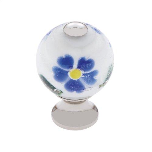 Polished Nickel 30 mm White Knob w/Flowers