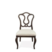 Verona Splat Back Upholstered Side Chair Dark Sienna finish