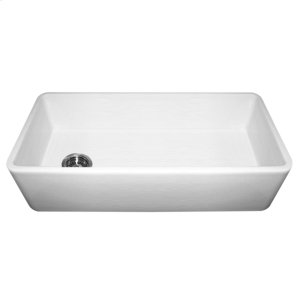 """Farmhaus Fireclay Duet Series reversible fireclay sink with a smooth front apron and a 3 1/2"""" offset center drain. Product Image"""