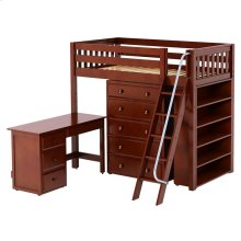 High Loft w/ Angle Ladder, 5 Drawer Dresser, Desk & Bookcase : Twin : Chestnut : Slat