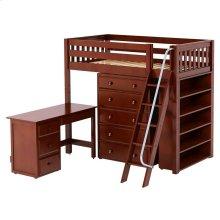 High Loft w/ Angle Ladder, 5 Drawer Dresser, Desk & Bookcase : Twin : Chestnut : Slat