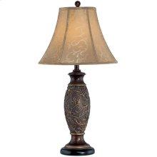 Table Lamp - Dark Bronze/jacquard Fabric Shade, Type A 150w