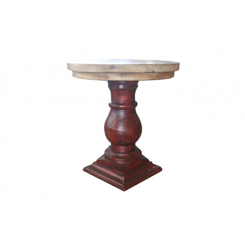 Factory 4 Rustic Round End Table w/ Pedestal