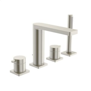 Lana X 4-hole roman tub trim kit, brushed nickel Product Image