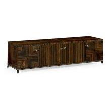 Macassar Ebony TV Cabinet with White Brass Detail