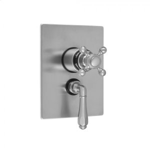 """Antique Brass - Rectangle Plate with Ball Cross Thermostatic Valve and Smooth Lever Volume Control Trim for 1/2"""" Thermostatic Valve with Integral Volume Control (J-THVC12) Product Image"""