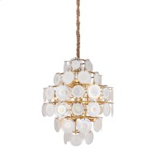 ISLA CHANDELIER  Frosted Glass Disks with Gold Finished Metal