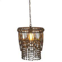 Round Framed Greywash Beaded Chandelier. 60W Max. Hard Wire Only.