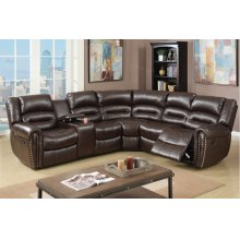 Espresso Reclining Sectional with Nail head Trim, Cup Holders and Storage