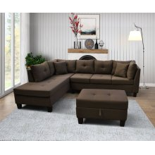 9128 Linen Fabric Sectional Sofa - Left