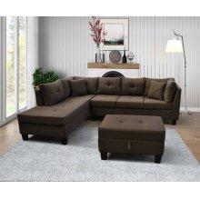 9128 Linen Fabric Sectional Sofa - Left