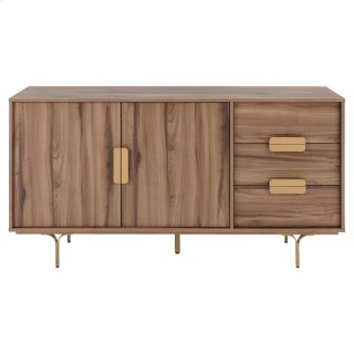 Avielle KD Sideboard 3 Drawers + 2 Doors Gold Legs, Walnut