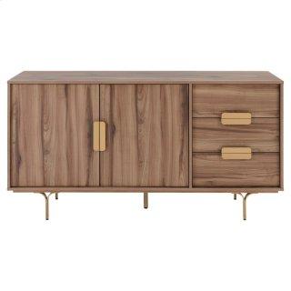 Avielle KD Sideboard 3 Drawers + 2 Doors Gold Legs, Walnut