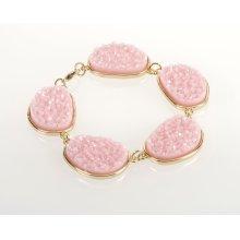 BTQ Pink Stones on Gold Bracelet