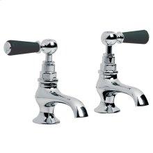 Classic black lever basin pillar taps (1 pair)