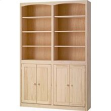 Pine 48 Inch Bookcase with Doors