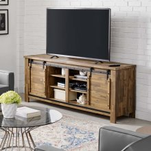 "Cheshire 71"" Rustic Sliding Door TV Stand in Walnut"