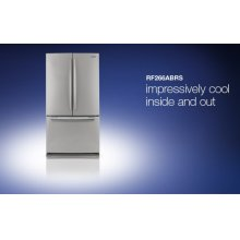RF266ABRS (26 cu.ft. stainless) (This is a Stock Photo, actual unit (s) appearance may contain cosmetic blemishes. Please call store if you would like actual pictures). This unit carries our 6 month warranty, MANUFACTURER WARRANTY and REBATE NOT VALID with this item. ISI 33683
