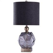 RICHMOND TABLE LAMP - Smoke Finish on Glass Body with Brass Finish on Metal Body  Hardback Shade