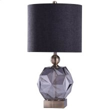 RICHMOND TABLE LAMP - Smoke Finish on Glass Body with Brass Finish on Metal Body  Hardback Shade