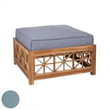 Teak Lattice Square Ottoman in Euro Teak Oil with Single Outdoor Sea Green Cushion