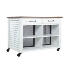 Barcart-antique White Finish/natural Top & Wire Mesh