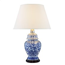 1 Light Table Lamp with Metal Ceramic Wood Body & Polished Brass#04 & Blue&Black (EL-5010) Finish