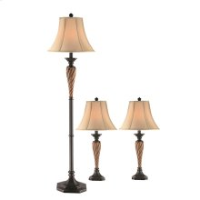 Lorenzo Lamp Set (set of 1 Floor and 2 Table Lamps)