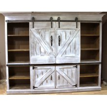 "#601 Barn Door Entertainment Center 105""wx19""dx82""h"