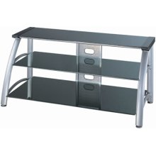 "3-tier TV Stand, Silver Chrome/black Glass, 50""lx23""wx23h"
