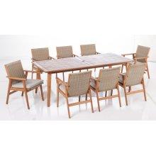 Kate Karri Gum FSC KD Wicker Dining Arm Chair w/ Sunbrella Cast Ash cushion