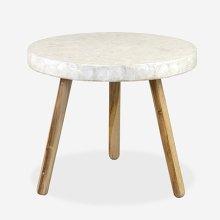 Estelle Round Capiz End Table - White