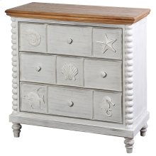 Montauk  34in X 16in X 34in  3 Drawer Chest with Crown Molding Top Bobbin Spool Corner Posts and S