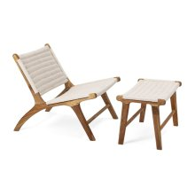 Evans Woven Teak Chair with Ottoman - Set of 2