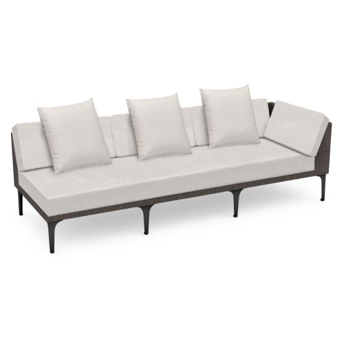 "98"" Outdoor Dark Grey Rattan 3 Seat L-Shaped Left Sofa Sectional, Upholstered in COM"