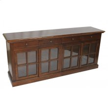 Sideboard 4 Glass Doors Brown or Distressed Blue