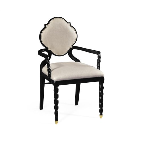 Armchair with twist leg, upholstered in MAZO