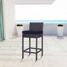 Convene Outdoor Patio Fabric Bar Stool in Espresso Navy