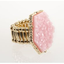 BTQ Pink Stone Gold Ring