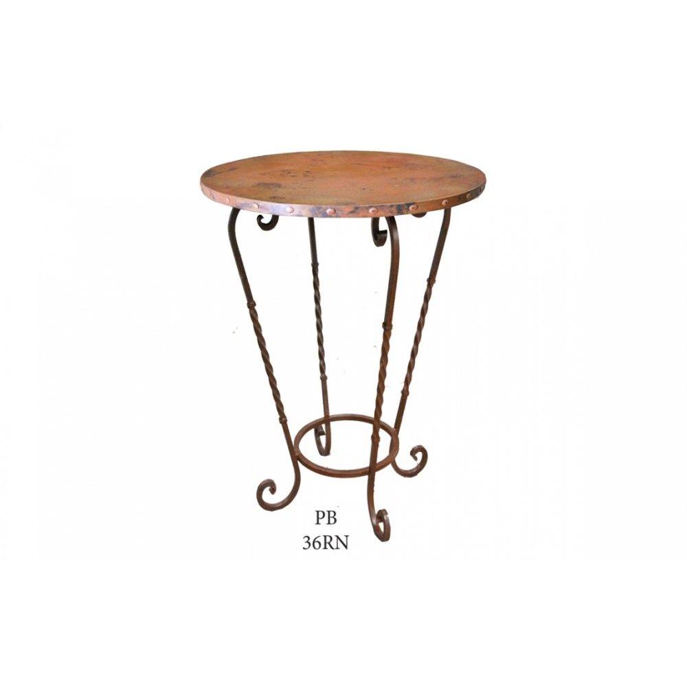"Factory 4 36"" Natural Copper Bistro Top with Claves & Wrought Iron Base"