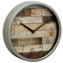 Metal & Glass Wall Clock  14in X 14in X 2in
